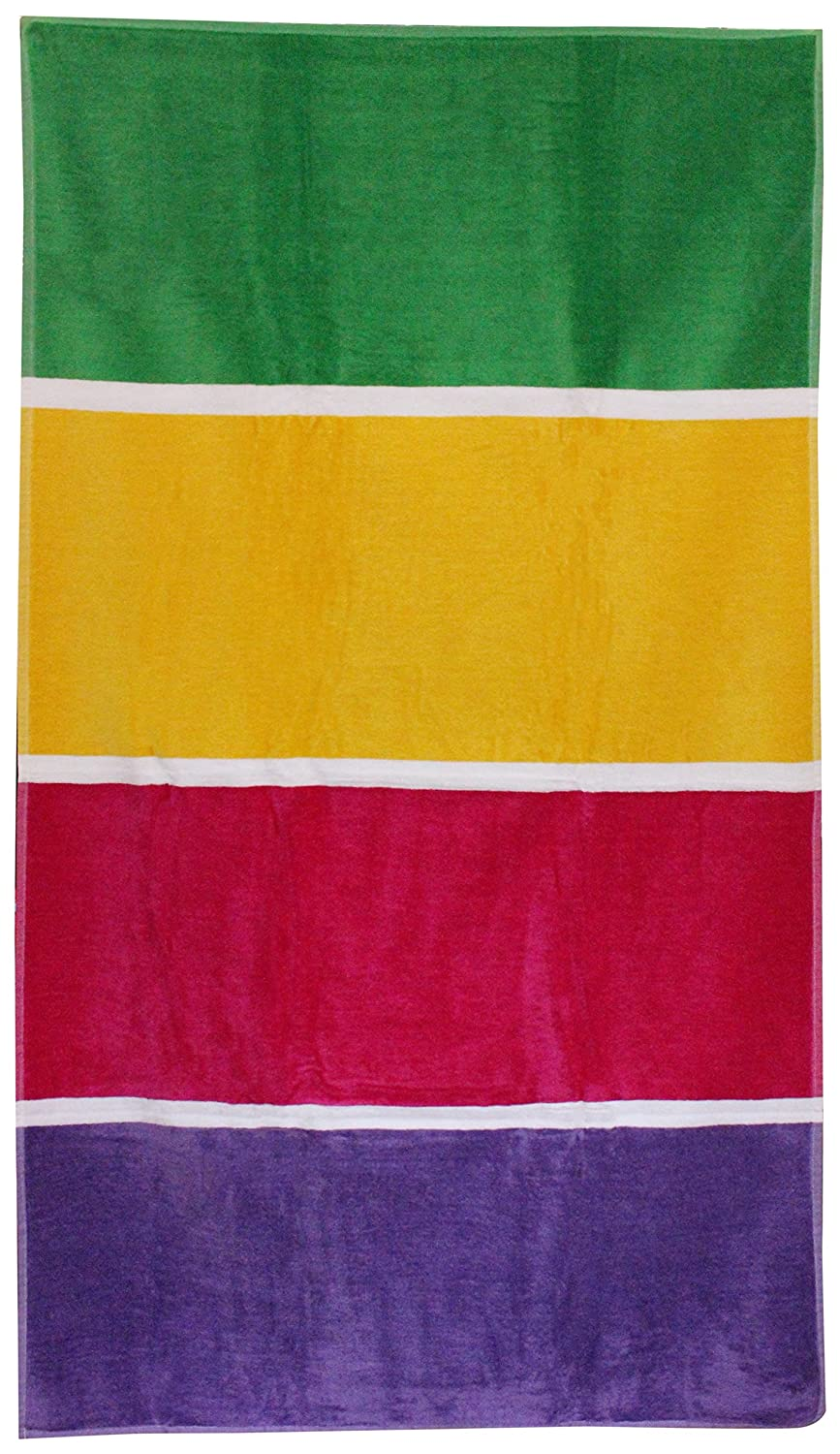 Northpoint Stripe Color Block Beach Towel 34'X63' Light Blue/Yellow/Pink/Fuchsia Northpoint Trading Inc 15368