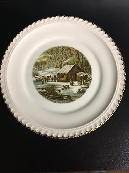 Amazon.com : Harkerware Currier & Ives Dessert Plate - A Home in the ...