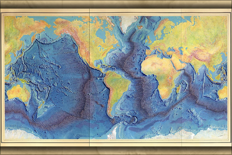 Amazon Com Vintography 24x36 Poster Heezen Tharp World Ocean