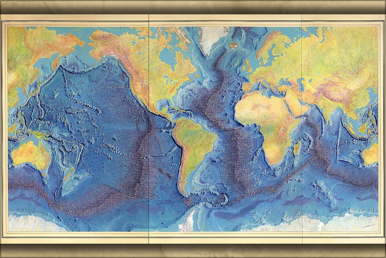 Amazon.com: 24x36 Poster; Heezen Tharp World Ocean Floor Map By Berann  1977; Antique Reprint: Posters U0026 Prints