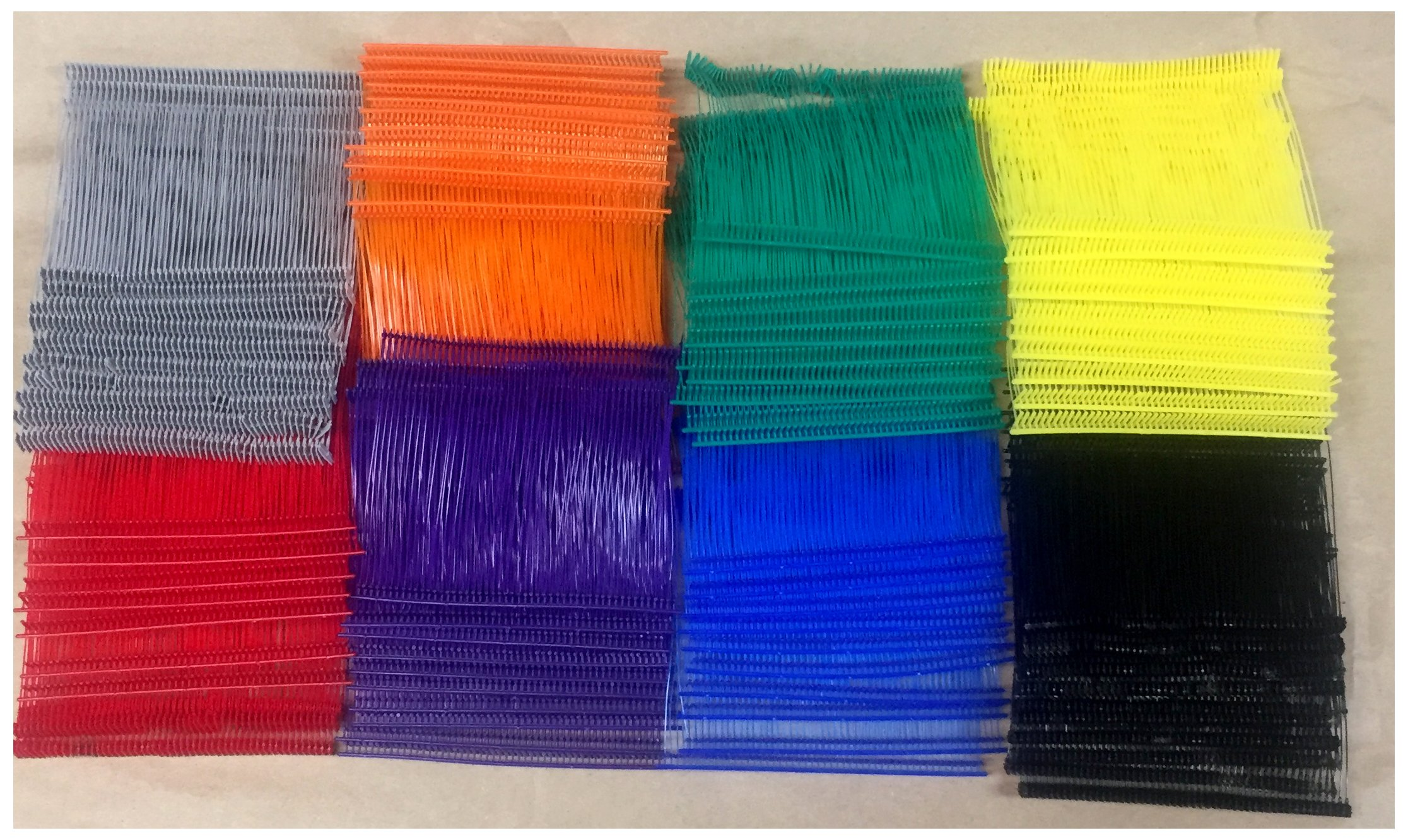 "Standard Tagging Gun Barbs Fasteners 3"" 500 each of Black Red Blue Green Orange Purple Grey Yellow 4000 Total Barbs"