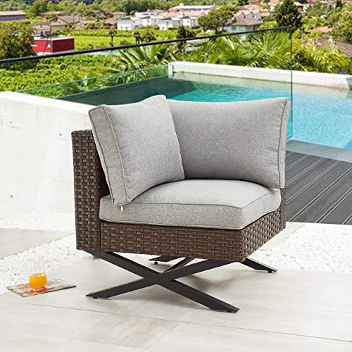 PatioFestival Patio Armless Sofas Outdoor Seating X-Leg Patio Conversation Set Furniture Set