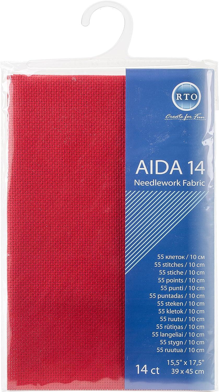 39 x 45 cm RTO Aida 14 Count Cross Stitch 100/% Cotton Green