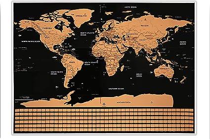 Material de papel recubierto del Mapa del Mundo de Scratch Off de lujo - Rastreador de viajes,