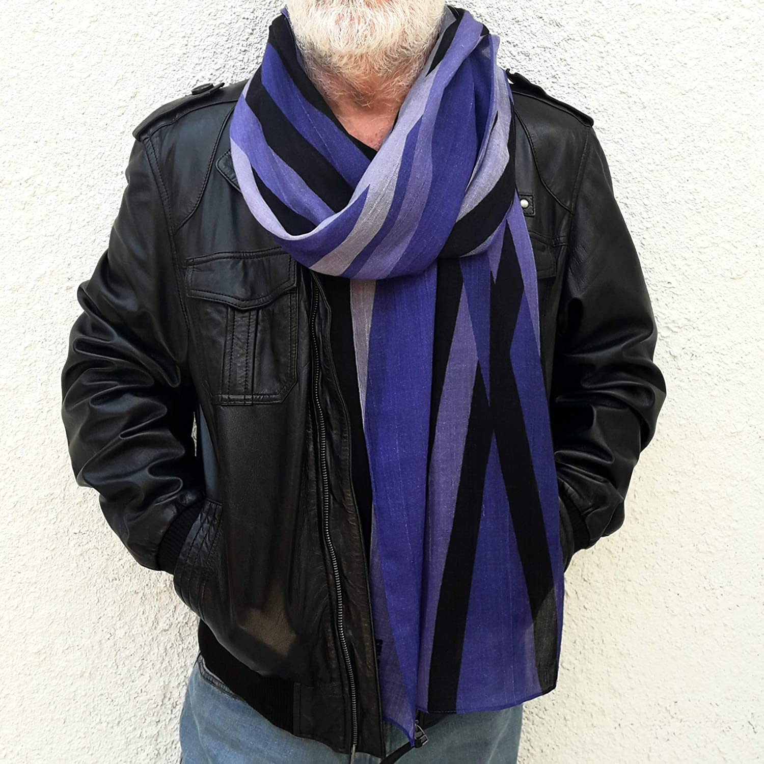 Men Cashmere Scarf in Violet Black and Bright Gray Long Geometric Designer Wearable Art