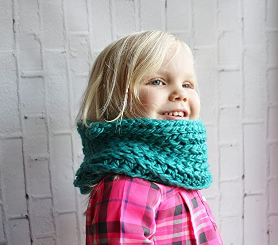 Amazon Teal Chunky Kids Crochet Cowl Scarf Handmade