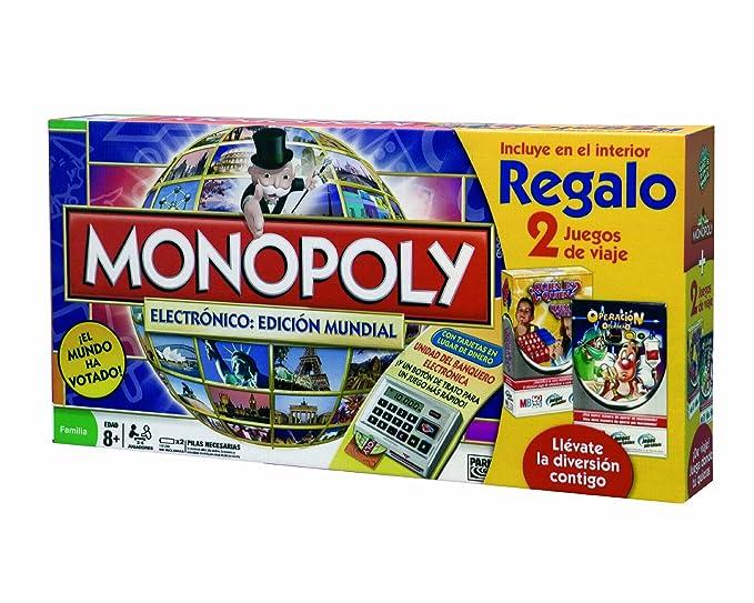 Hasbro Monopoly Electronico: Edicion Mundial 98887500 - Juegos en familia con Operación Viaje y Quién Es Quién Viaje