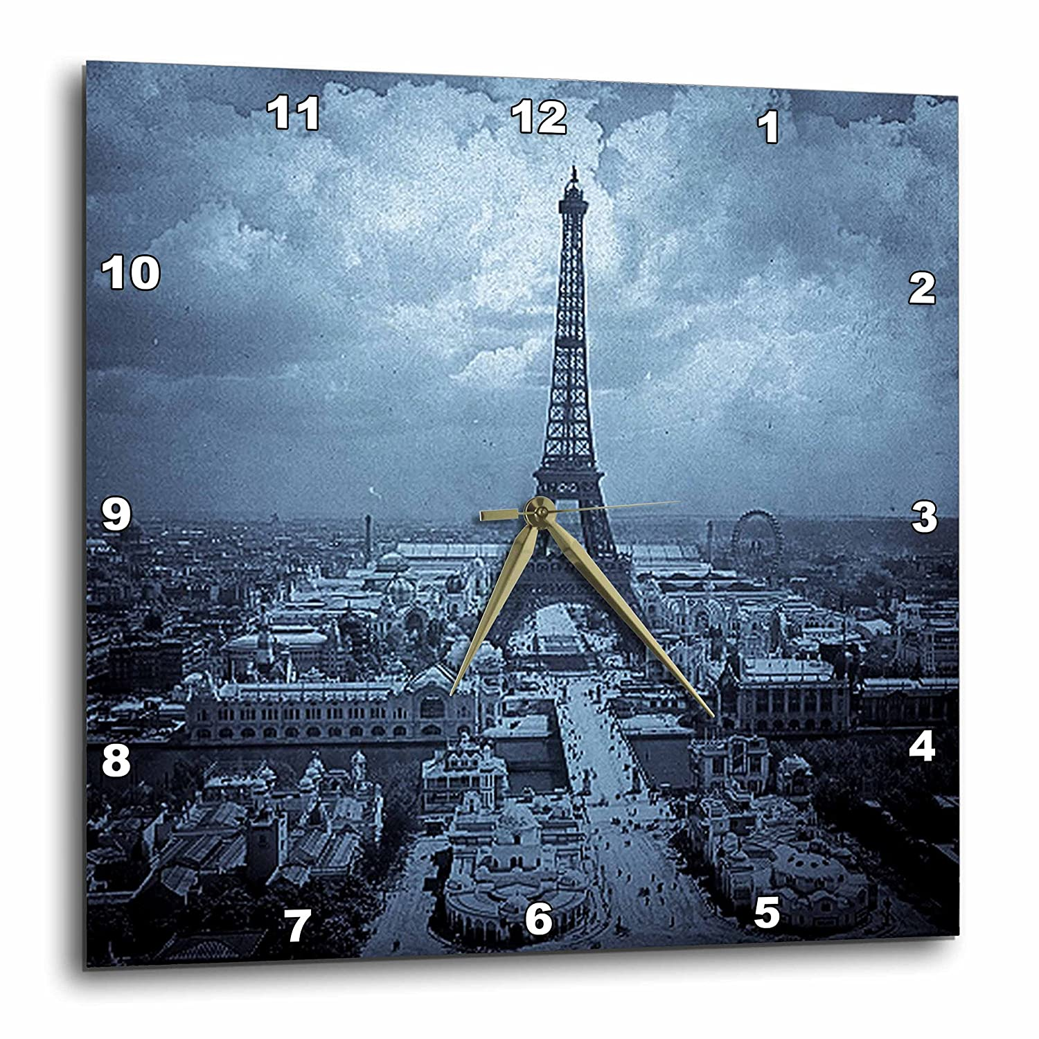 13 by 13-Inch 3dRose dpp/_77455/_2 The Paris Exposition 1900 Eiffel Tower Cyan Tone Wall Clock