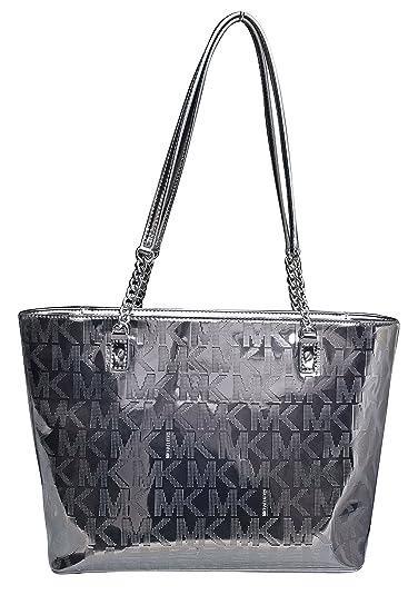 e405721459b0e3 Michael Kors Jet Set Chain EW Tote Signature Mirror Metallic Tote Nickel:  Handbags: Amazon.com