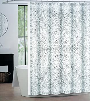 tan and gray shower curtain. Tahari Fabric Shower Curtain Gray Tan Silver Paisley on White  Eve Amazon com