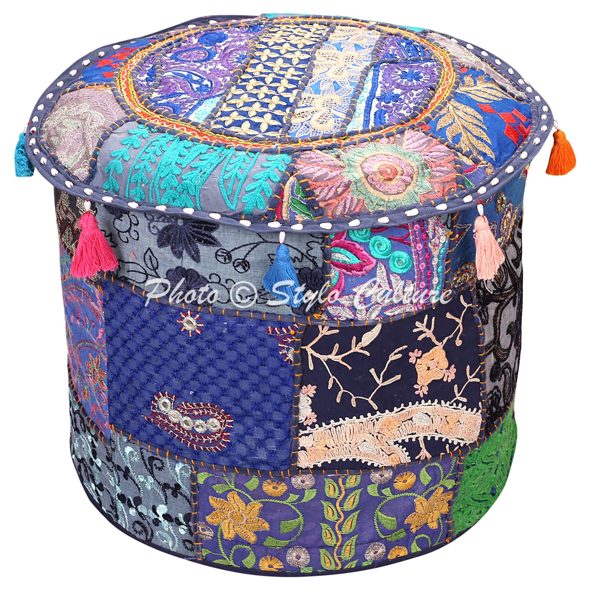 Stylo Culture Decorative Pouffe Floor Pillow Cover Round Patchwork Embroidered Pouf Ottoman Cover Blue Cotton Floral Traditional Furniture Footstool Seat Foot Rest Puff Cover (18x18x13)