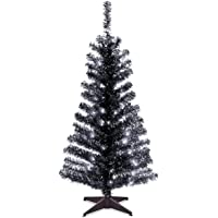 National Tree Company Pre-lit Artificial Christmas Tree   Includes Pre-strung White Lights and Stand   Black Tinsel - 4…