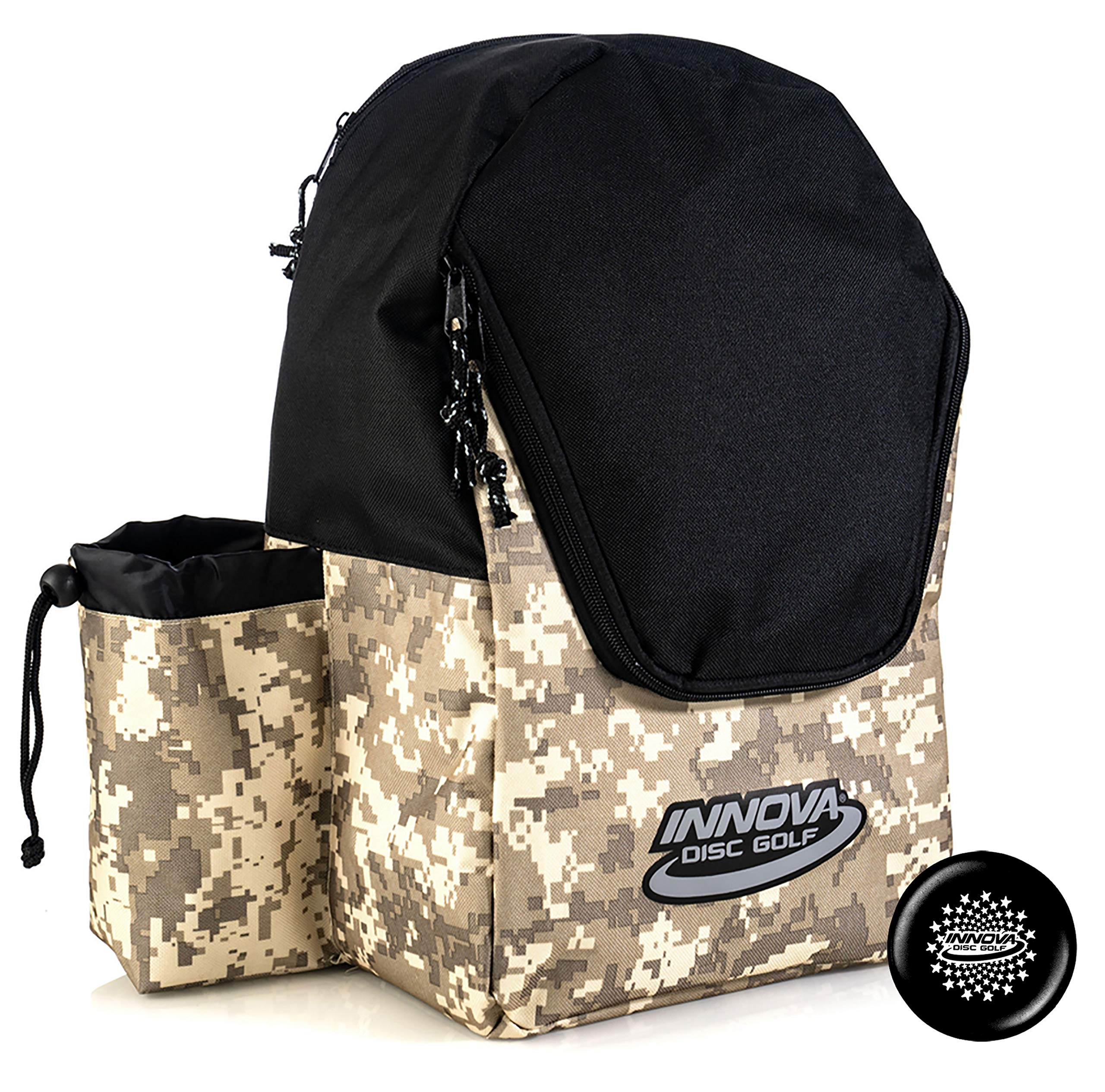 Innova Discover Pack Backpack Disc Golf Bag - Holds 15 Discs - Lightweight Easy to Carry - Includes Innova Limited Edition Stars Mini Marker (Camo/Black) by Innova Discs