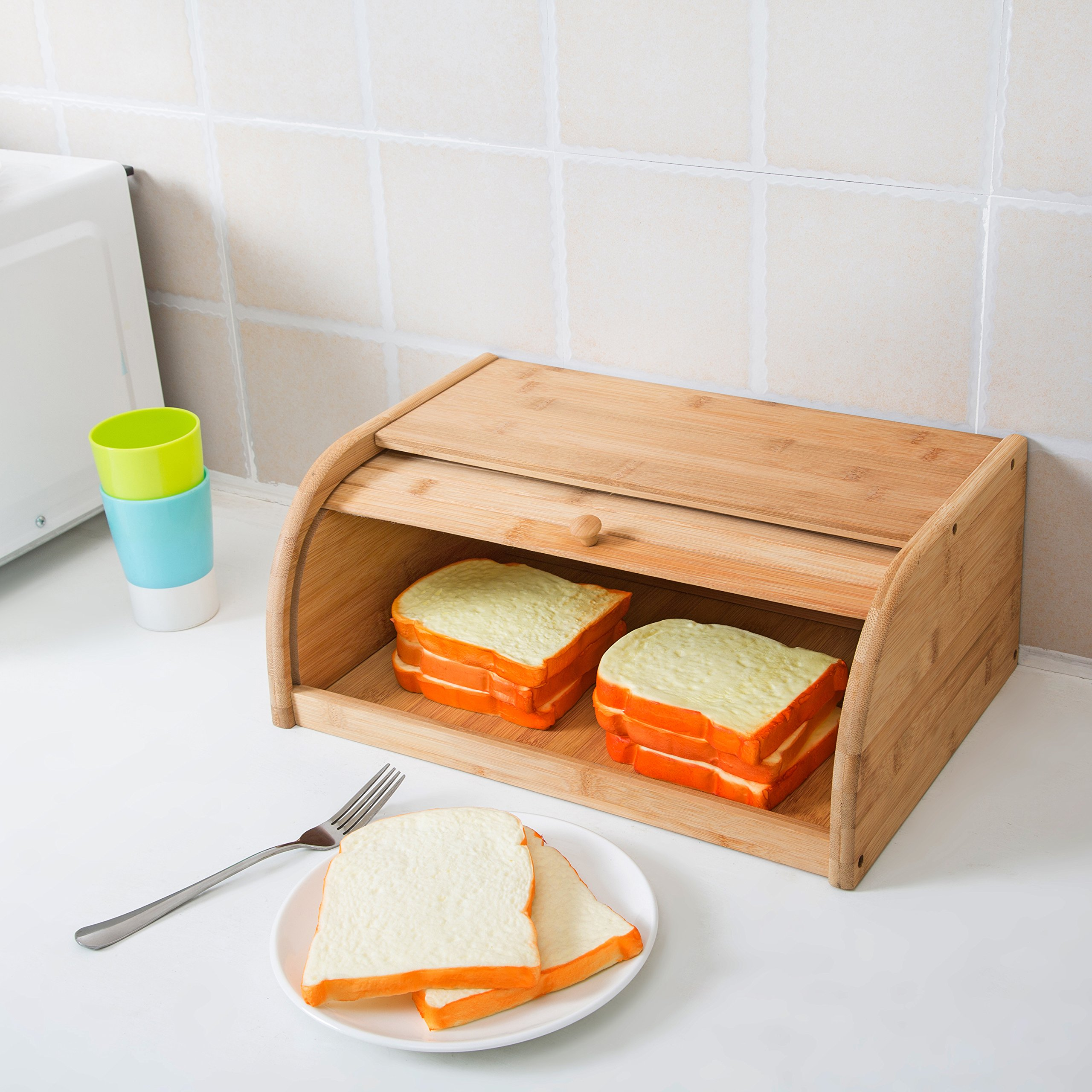 16 inch Kitchen Natural Wooden Bamboo Rolltop Bread Box Food Storage - MyGift by MyGift (Image #3)
