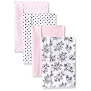 Hudson Baby Baby Layered Flannel Burp Cloth, Black & Pink Floral 4 Pack, One Size