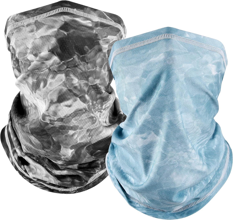 MCTi UV Neck Gaiter Mask, Bandana Balaclava Face Mask Breathable Cooling Sun Summer for Fishing Running 2 Packed