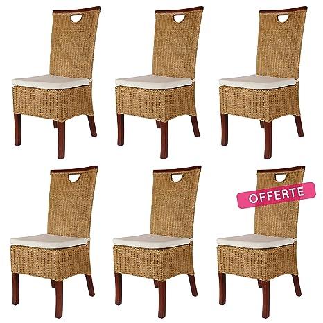REBAJAS : -66% Lote de 6 sillas para comedor miel modernas y ...