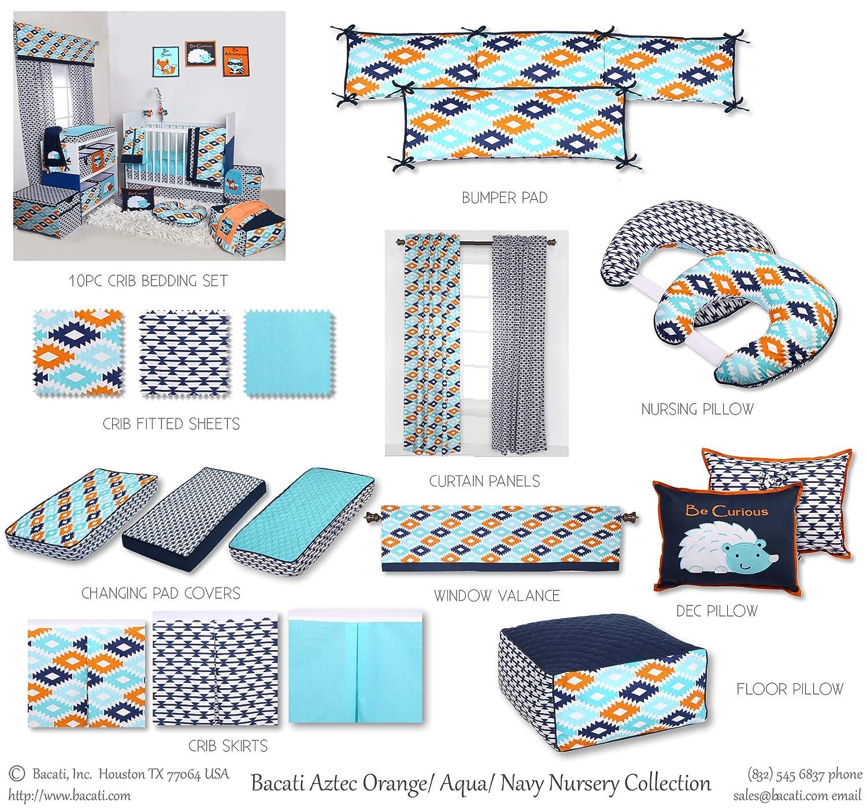 Liam Aztec Aqua//Orange//Navy Bumper Pad Bacati