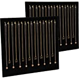 Black Velvet Necklace Organizer with 17 Hooks, Jewelry Display Tray (2-Pack)