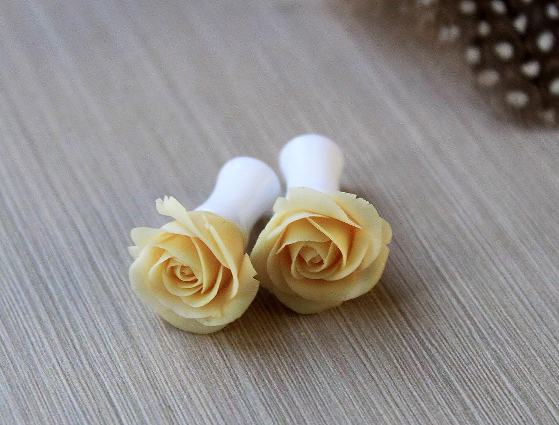 Clear Peach Wedding Gauges Clear Peach Button Mum Flower Plugs Clear Peach Prom Plugs Clear Peach Mum Plugs Clear Peach Wedding Plugs