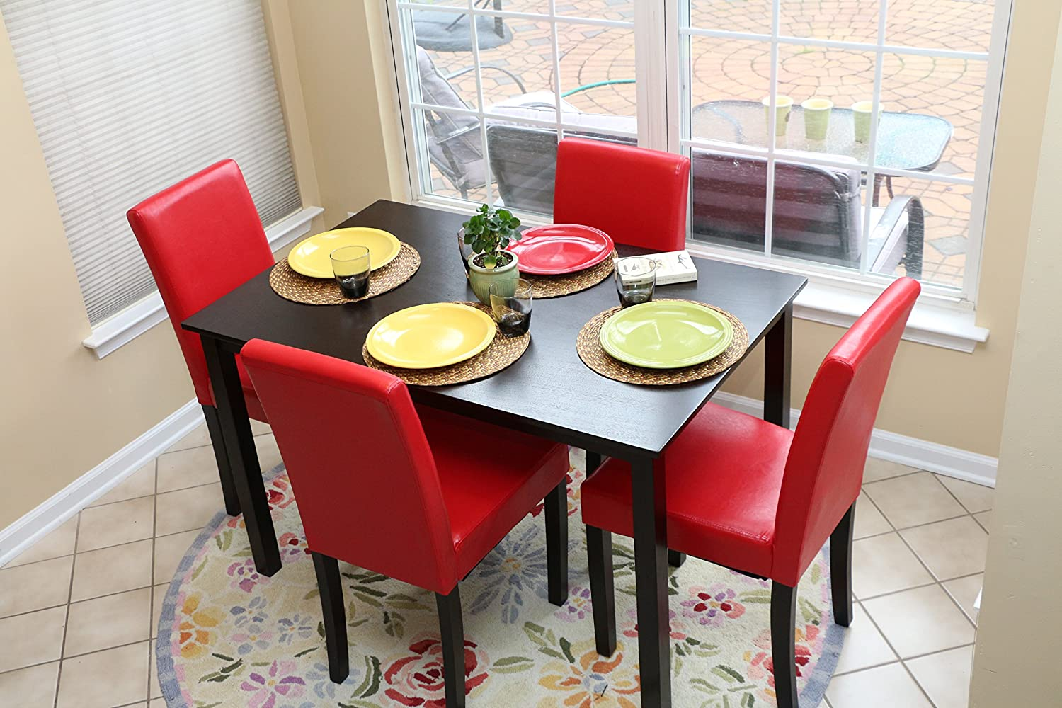 Amazon.com   5 PC Red Leather 4 Person Table And Chairs Red Dining Dinette    Red Parson Chair   Table U0026 Chair Sets Design Inspirations