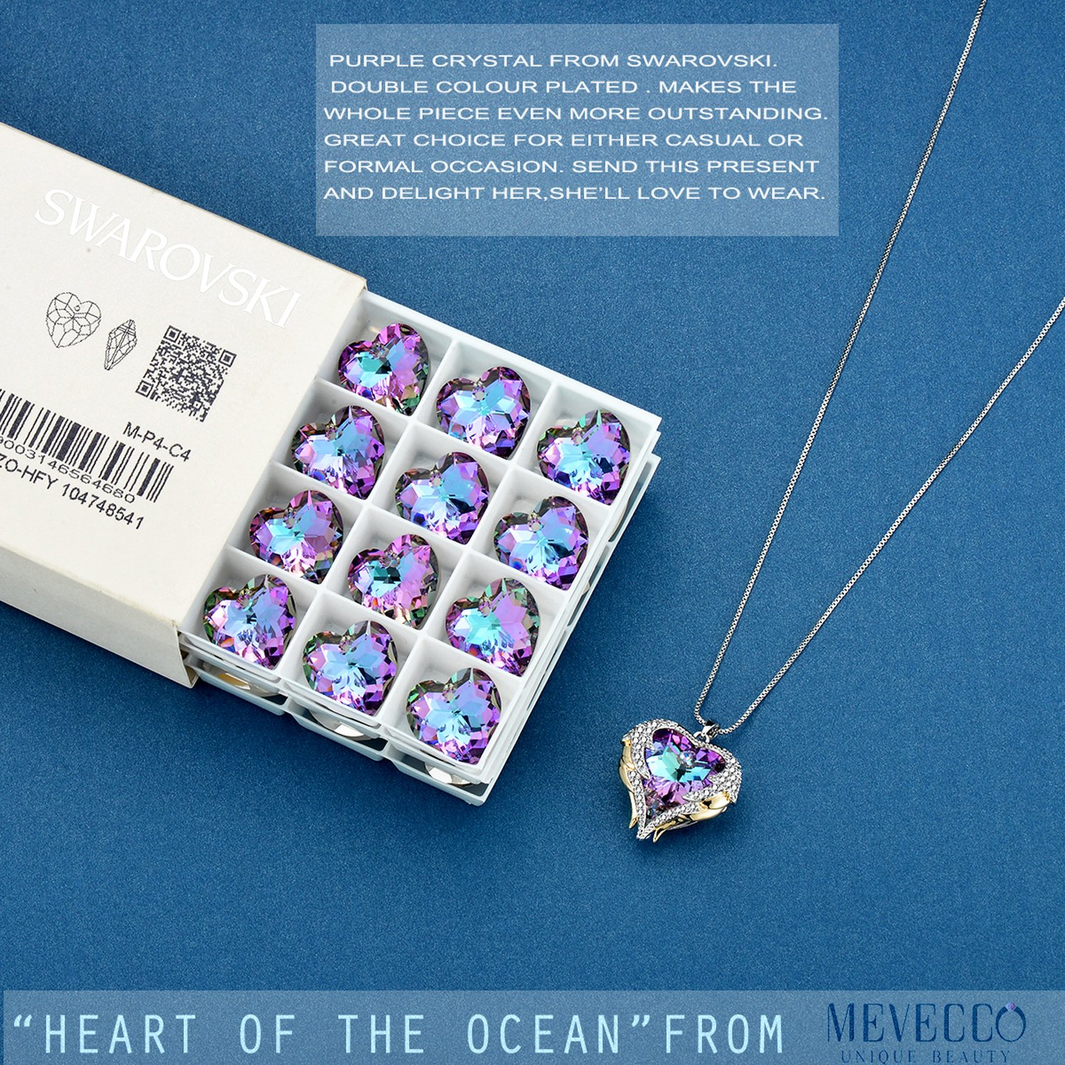 Mevecco ''Heart Of the Ocean'' Heart Pendant Necklace Made with Swarovski Crystals-NK10-Vol Light by Mevecco (Image #6)