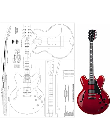 Gibson ES-335 Jazz Archtop electric Guitar Plans - Full Scale - Actual Size -