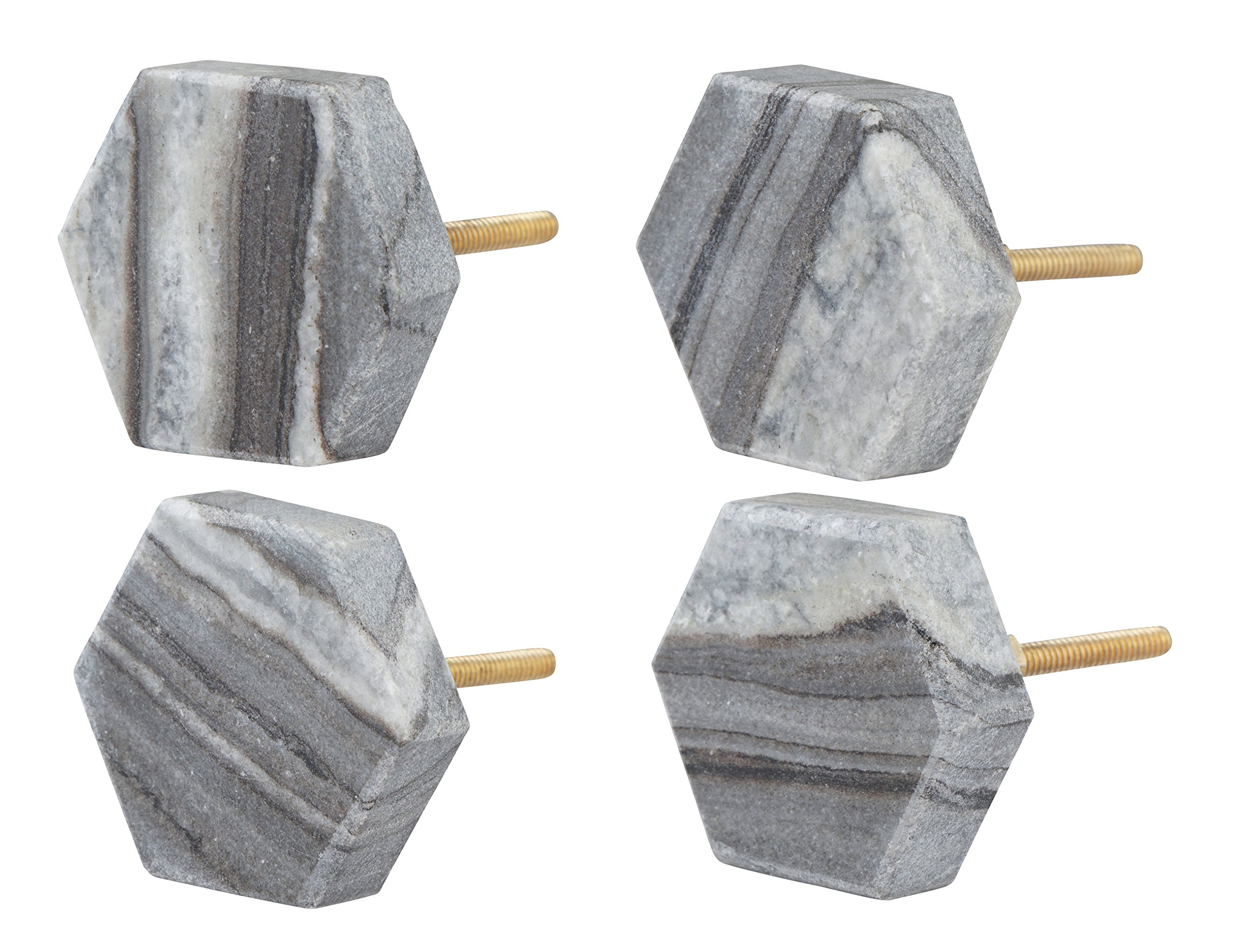 Set of 4 Gray Hexagon Marble Knobs – Decorative Drawer Pulls for Cabinets, Dressers, Desks – Handmade Geometric Natural Stone Novelty Cabinet Hardware for Kitchen, Bathroom by Artisanal Creations