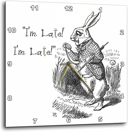 3dRose Alice in Wonderland White Rabbit I m Late John Tenniel Illustration Wall Clock, 15 by 15