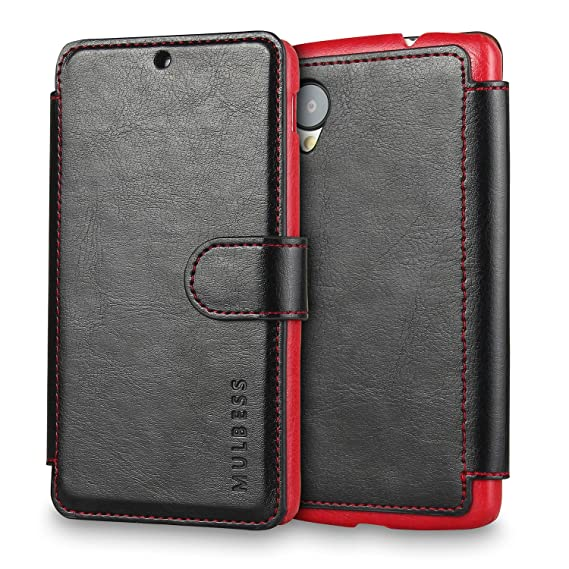 pretty nice da269 6b524 Nexus 5 Case Wallet,Mulbess [Layered Dandy][Vintage Series][Black] - [Ultra  Slim][Wallet Case] - Leather Flip Cover With Credit Card Slot for LG ...
