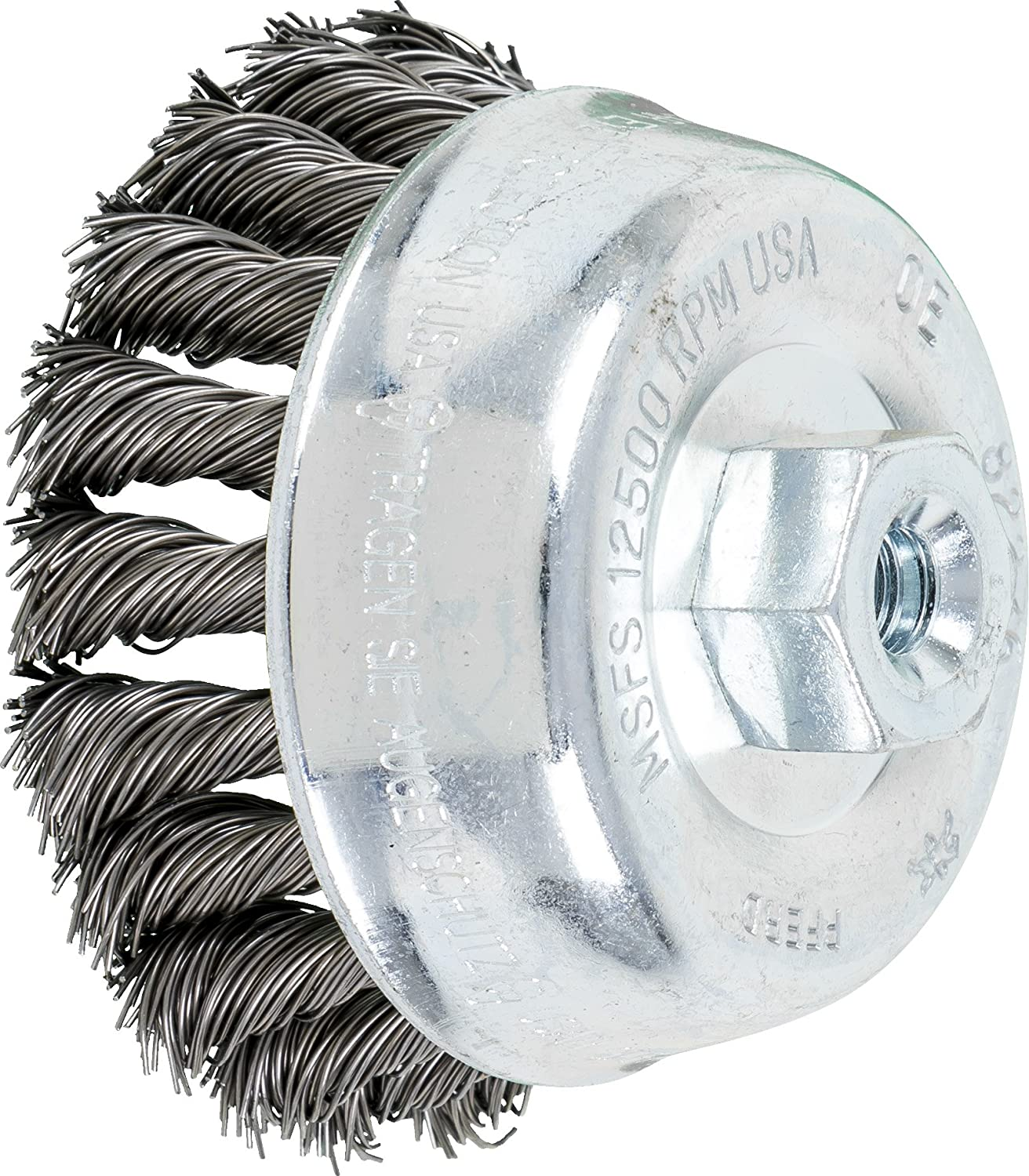 Threaded Hole 5//8-11 Thread Carbon Steel Bristles PFERD 82529 Single Row Power Knot Cup Wire Brush with External Nut and Standard Twist 7000 Maximum RPM 5 Diameter 0.023 Wire Size