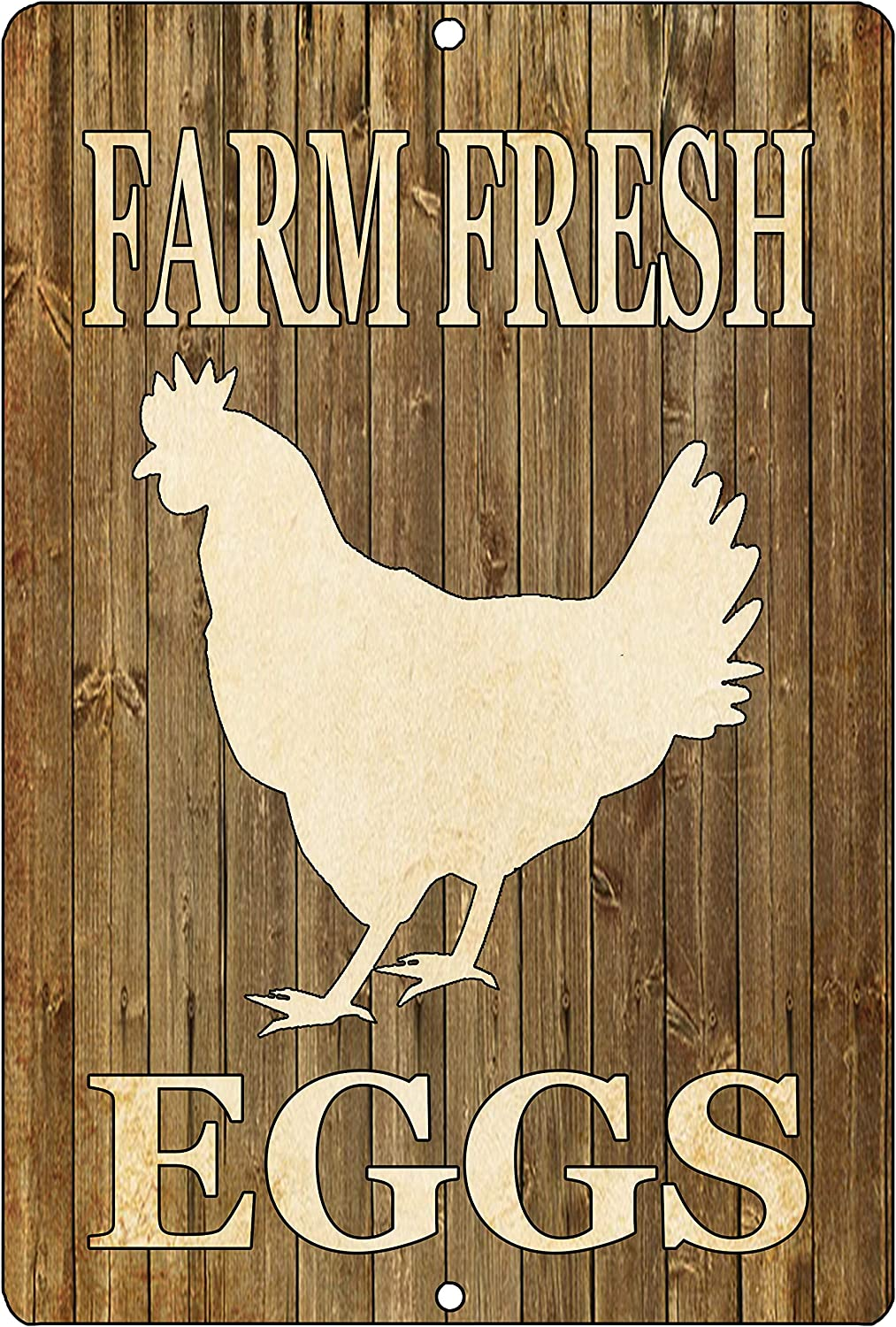 Rogue River Tactical Chicken Farm Fresh Eggs Metal Tin Sign Ranch Kitchen Wall Decor Country Rustic