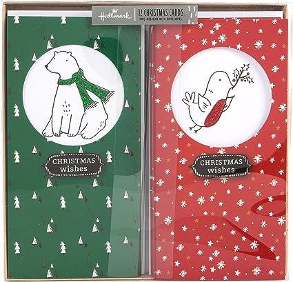 Hallmark Tarjetas de Navidad en caja Deseos de Navidad - Pack de 12 con 2 Diseños: Amazon.es: Oficina y papelería