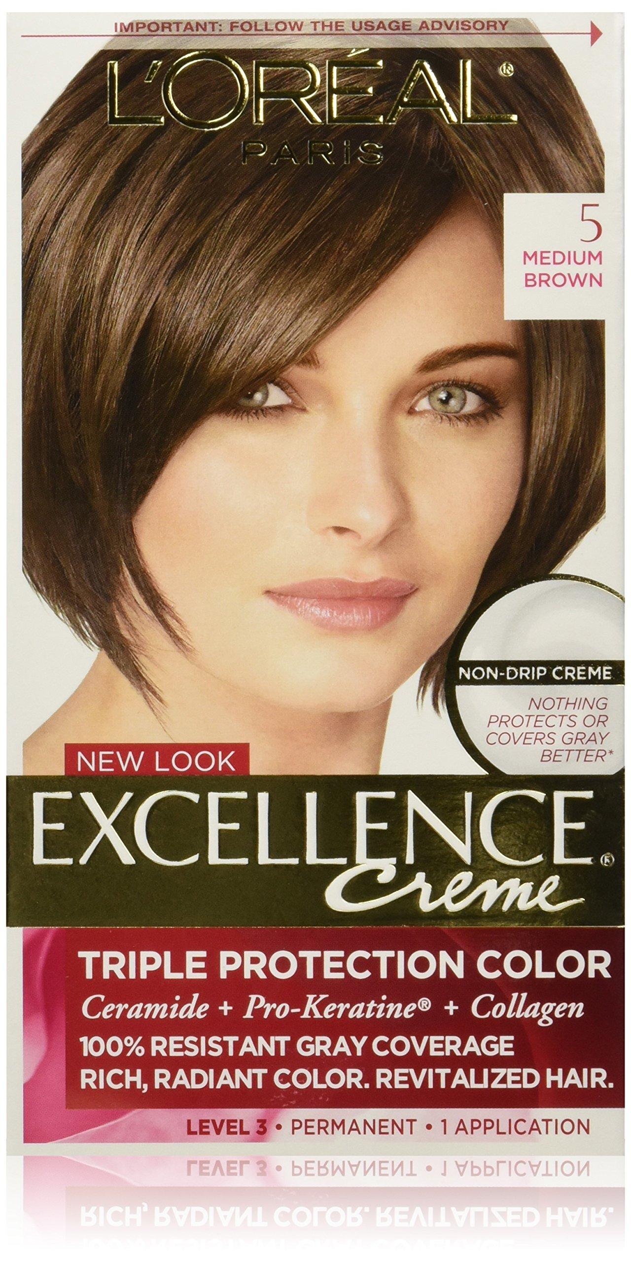 Amazon.com : L\u002639;Oreal Paris Excellence Creme Hair Color, 4 Dark Brown : Chemical Hair Dyes : Beauty