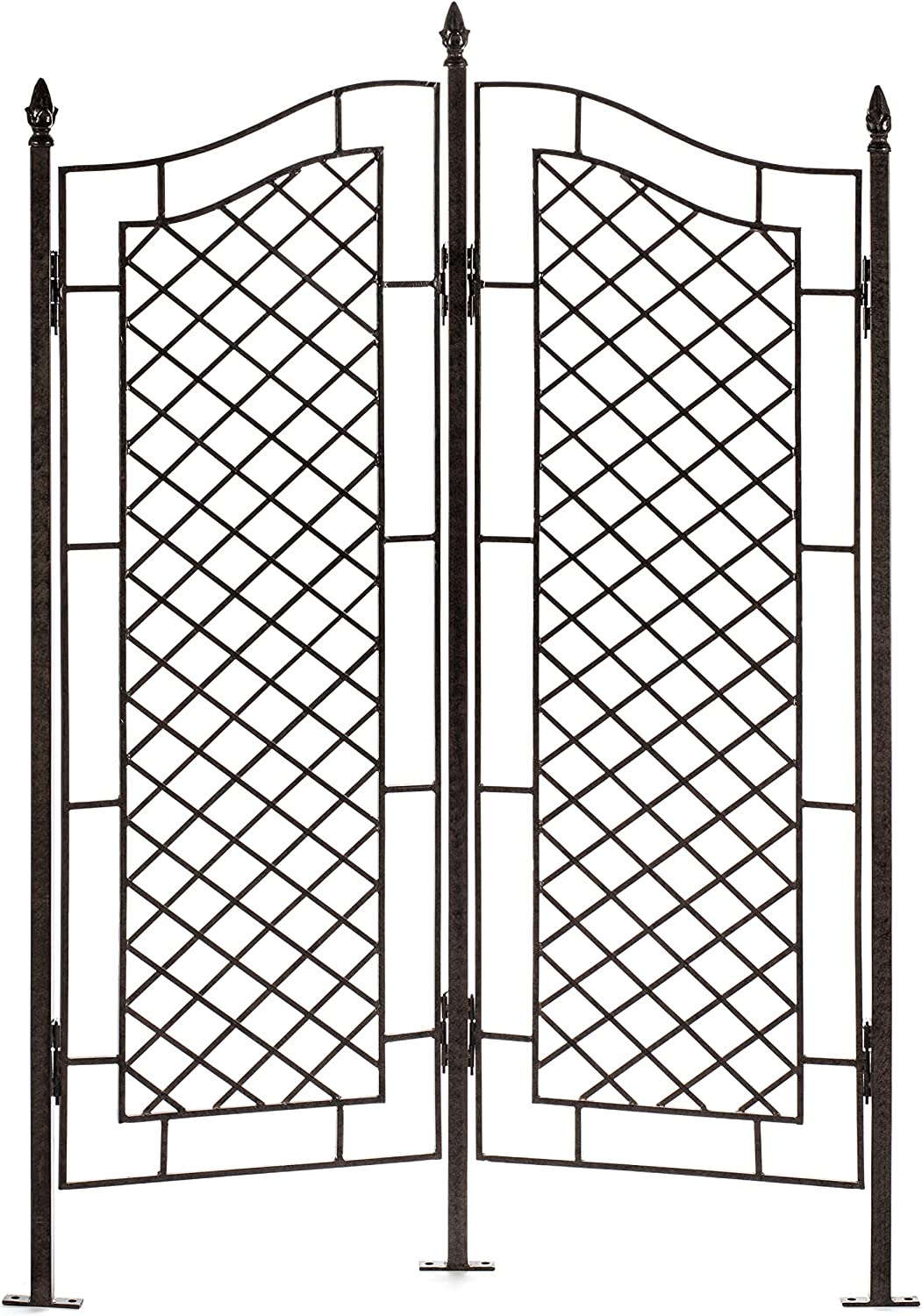H Potter Large Trellis for Climbing Plants Wrought Iron Metal 2 Panel Ivy Garden Privacy Screen Patio Deck