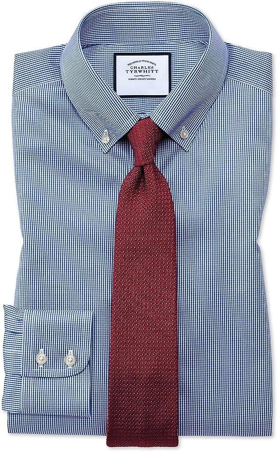 Charles Tyrwhitt Camisa Azul Real de Corte clásico con ...