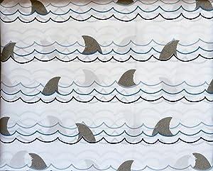 Boat House Kids Bedding 3 Piece TWIN Sheet Set Shark Fins Waves Ocean Blue Gray on White