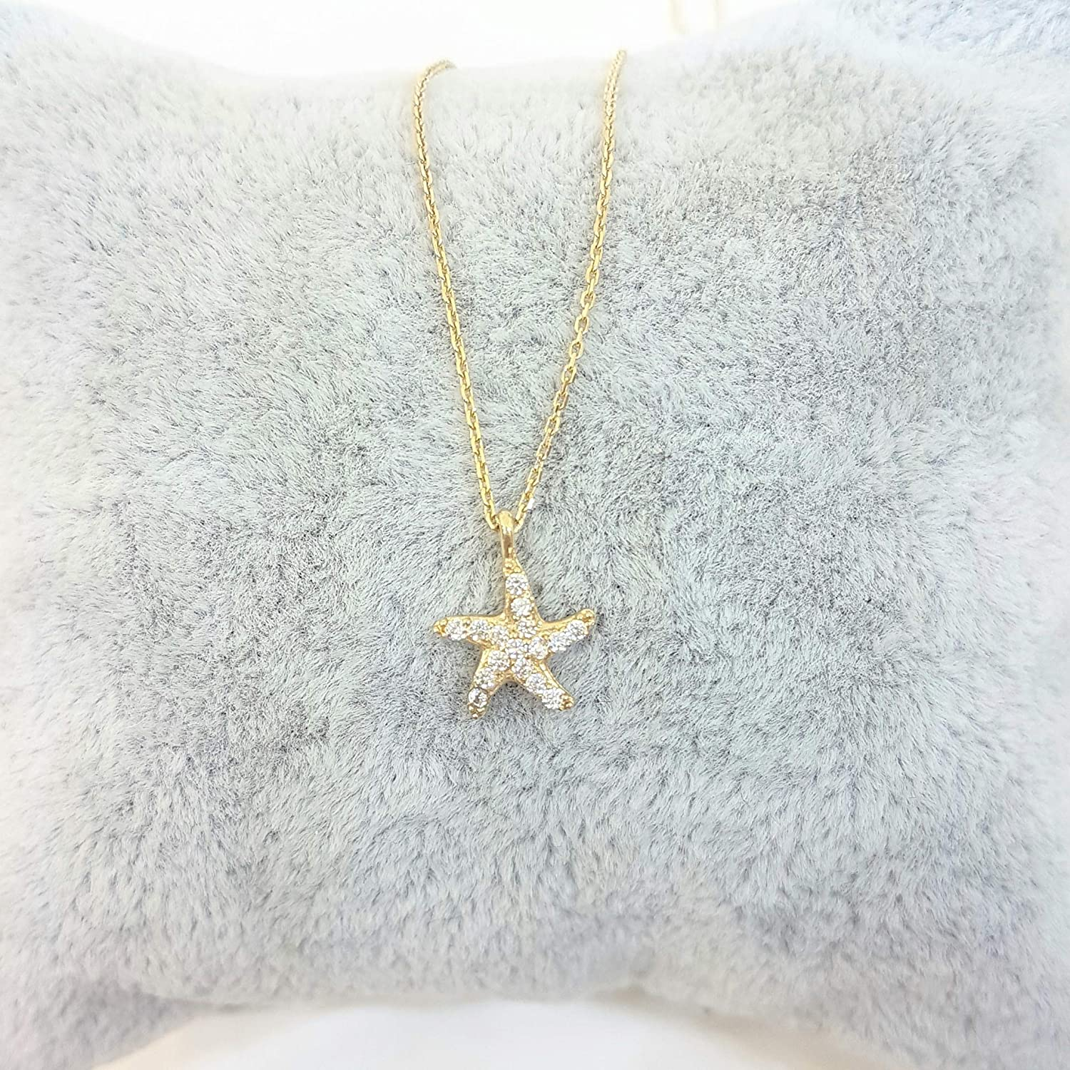 Gold Necklace 14kgf Starfish Necklace; Dainty Trendy