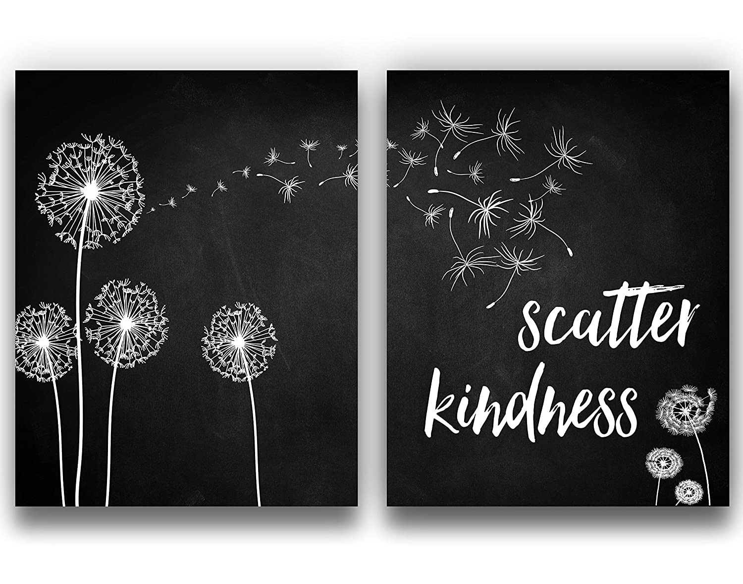 """""""Scatter Kindness"""" Chalkboard Dandelions Wall Decor Set of 2, 11x14 UNFRAMED Prints - Perfect Gift for Lovers of Modern Farmhouse Inspirational Typography"""