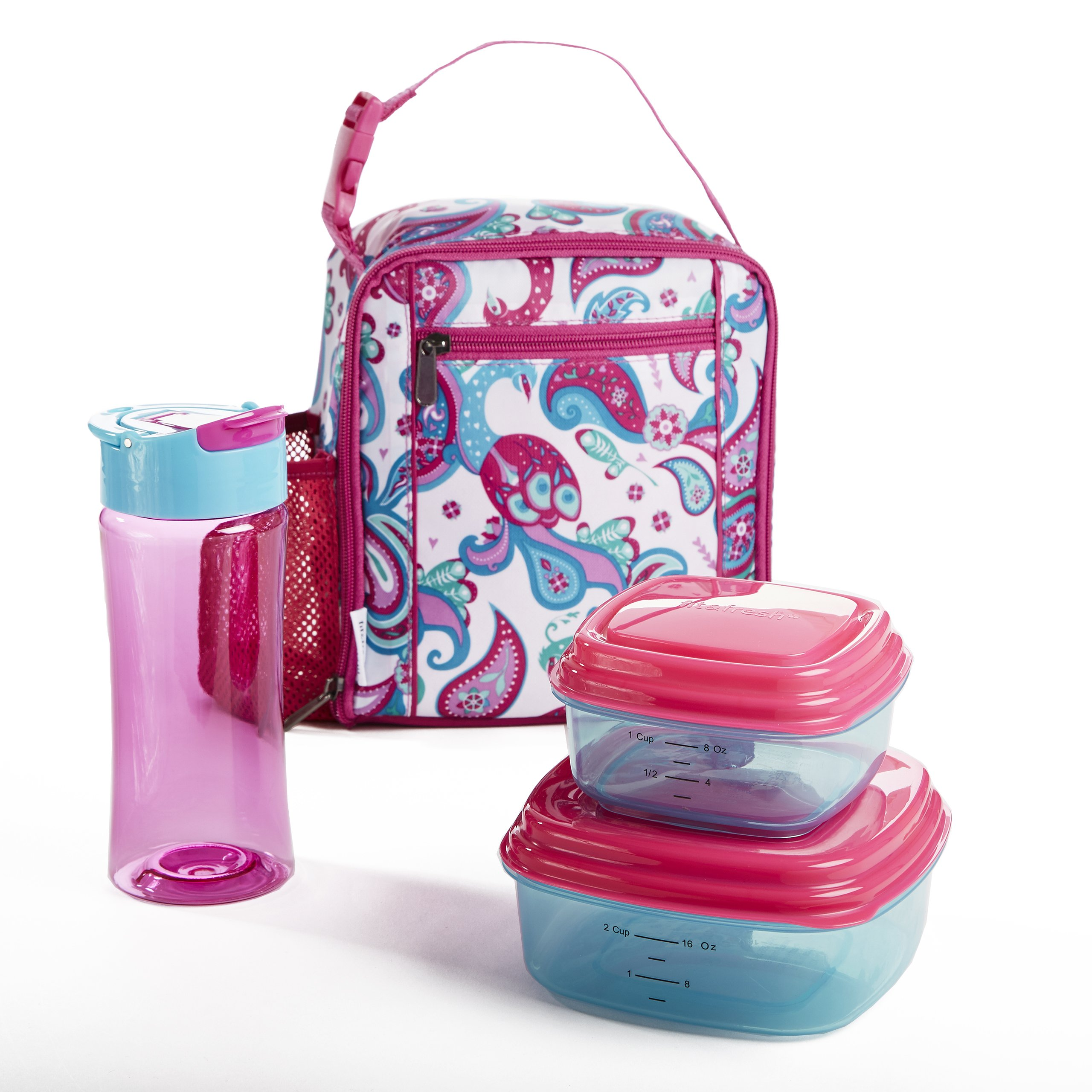 Fit & Fresh Scout Lunch Kit for Kids with BPA-Free Containers and Water Bottle, Peacock Paisley
