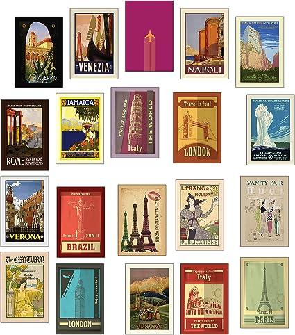 20 tarjetas postales de viaje distintas de estilo retro: Amazon.es: Oficina y papelería
