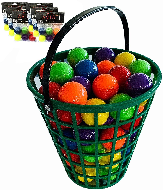 Aviat Bucket O' Colored Golf Balls | Blue, Green, Orange, Yellow, Purple, Red Golf Ball Basket