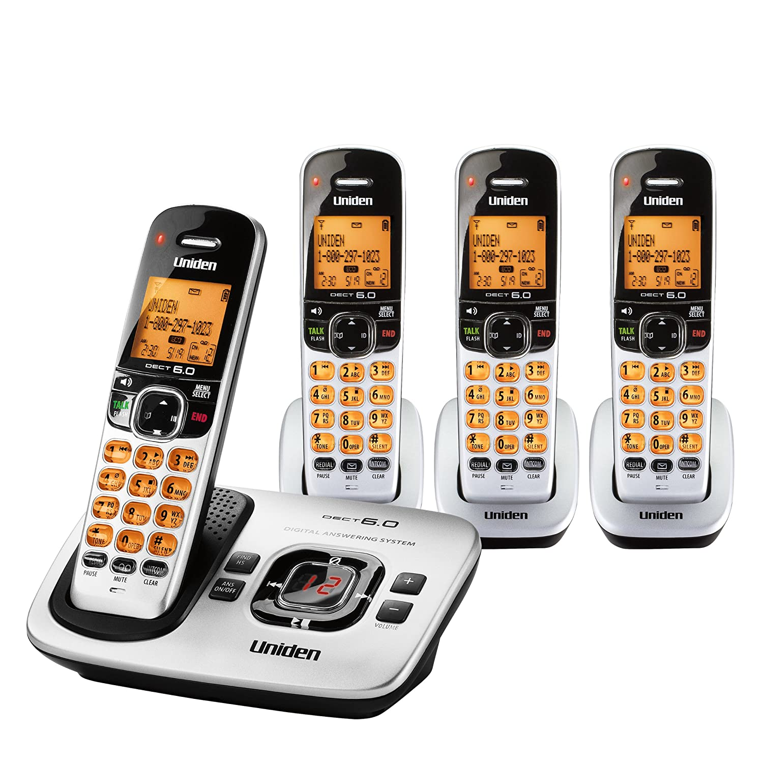 Amazon.com : Uniden DECT 6.0 Expandable 4 Handset Cordless Phone with  Digital Answering System - Silver (D1780-4) : Laptop Computer Chargers And  Adapters ...