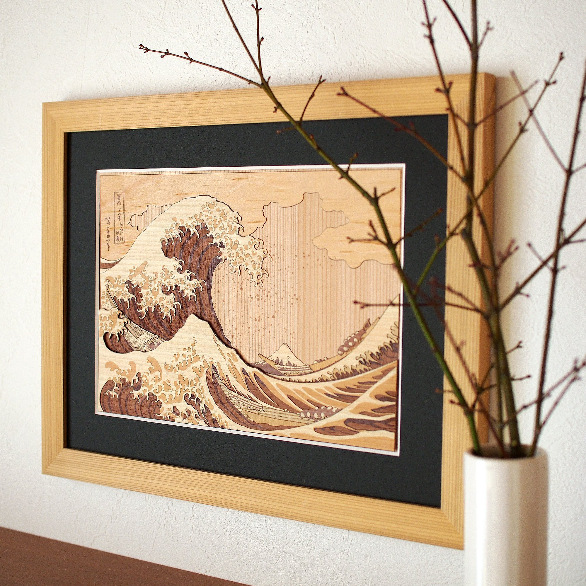 KINOWA Ukiyoe Art Kit Kiharie The Great Wave Off Kanagawa Thirty-six Views of Mount Fuji by Hokusai Made in Japan by KINOWA (Image #9)