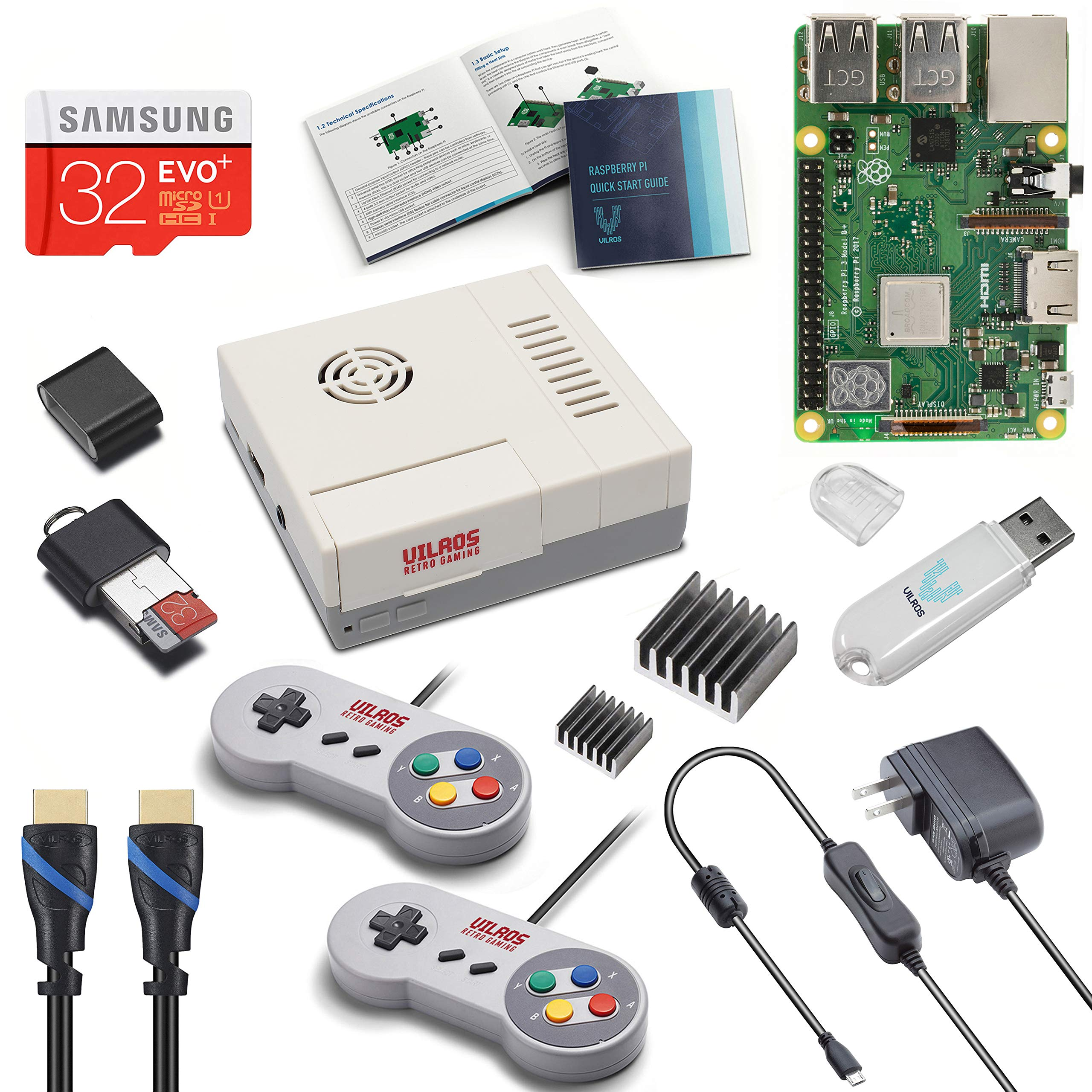 Vilros Raspberry Pi 3 Model B+ (B Plus) Retro Arcade Gaming Kit with 2 Gamepads & Fan-Cooled Retro Gaming Case by Vilros