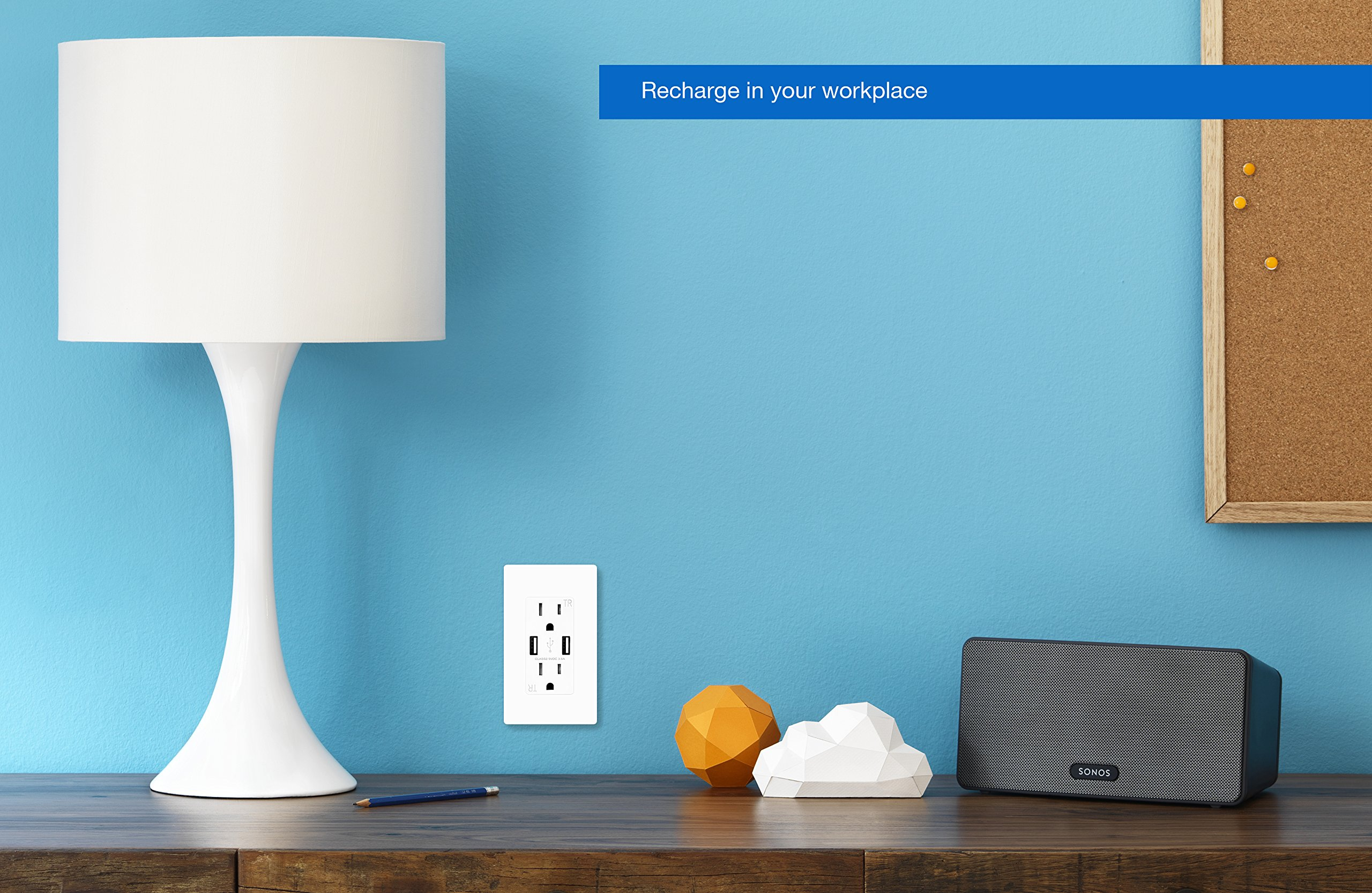 TOPELE Smart Fast Charger USB Outlet, Duplex Dual USB Wall Outlet with 15Amp 110V/120V Tamper-Resistant Electric Receptacle, Childproof USB Outlet Plug, UL Listed, White by TOPELE (Image #3)