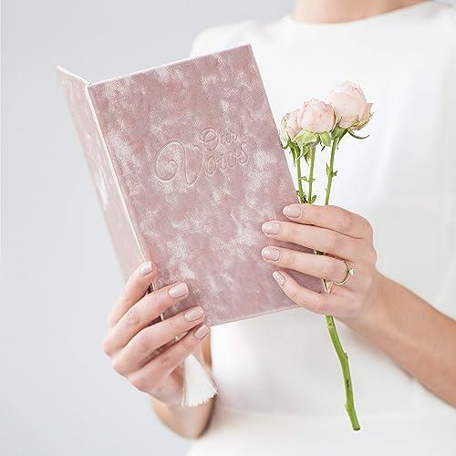 Wedding Ceremony Vow.Dusty Rose Wedding Vow Books Velour Keepsake Calligraphy Her Vows