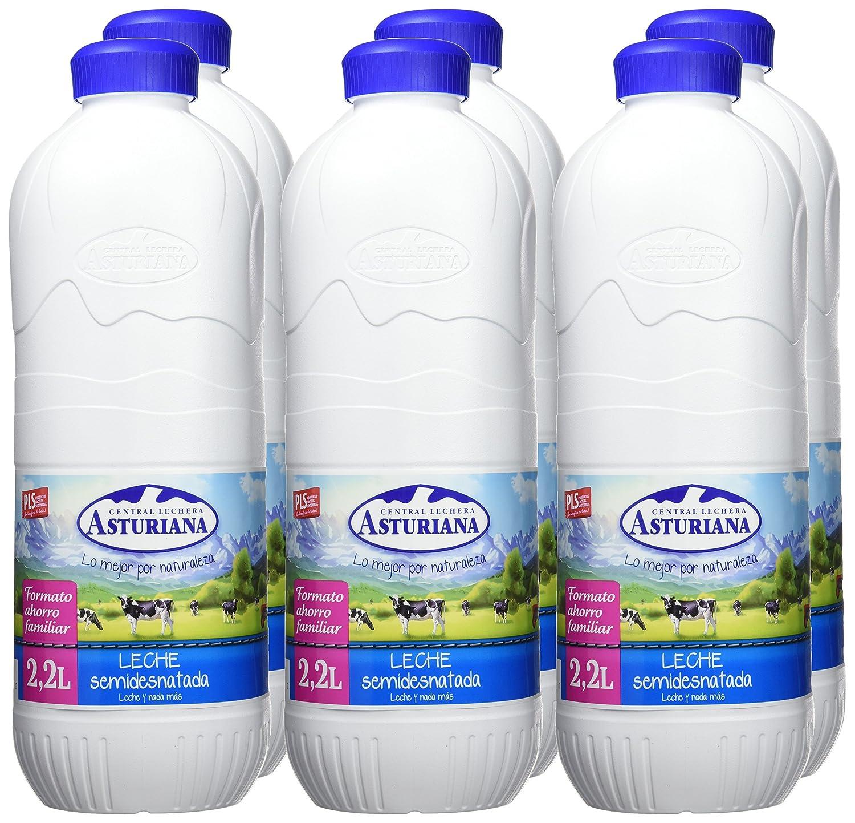 Central Lechera Asturiana - Leche UHT Semidesnatada - Botella 2,2 L -, Pack de 6: Amazon.es: Alimentación y bebidas