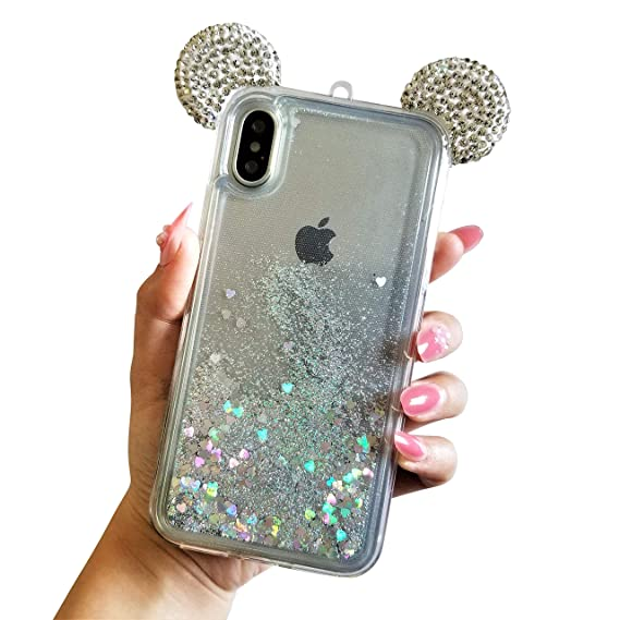 separation shoes 31eb5 b960f for iPhone X for iPhone Xs Floating Holographic Hearts Minnie Mickey Ears  Liquid Waterfall Glitter Quicksand Disney Back Cover Case