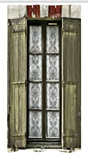 """Ambesonne Country Stall Shower Curtain, European French Window with Antique Design Open Shutters in Vintage Style Print, Fabric Bathroom Decor Set with Hooks, 36"""" X 72"""", Brown White"""